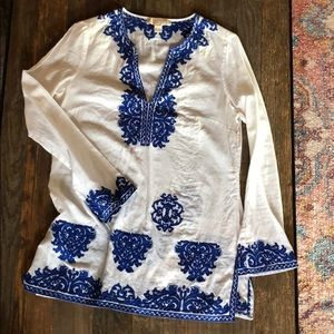 Michael Kors White Tunic with Navy Embroidery